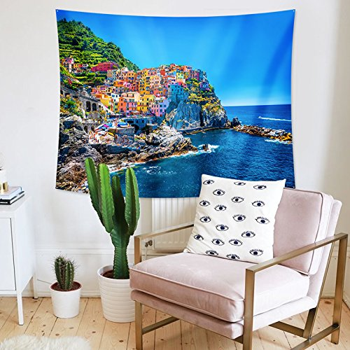 - Roslynwood Farm House Decor Tapestry by, Italian Mediterranean House by Cliffs Dramatic Weather Sea Cinque Terre Print, Wall Hanging for Bedroom Living Room Dorm