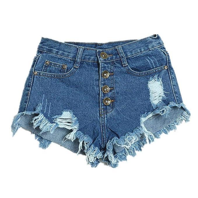 loukou Women Casual Frayed Hole Button High Waist Jeans Shorts Shorts Dark Blue