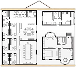 Modern Office Architectural Plan Interior Furniture and Construction Design Drawing Project - Illustration USA,Magnet Print Poster Office for Home 12''W x 8''H