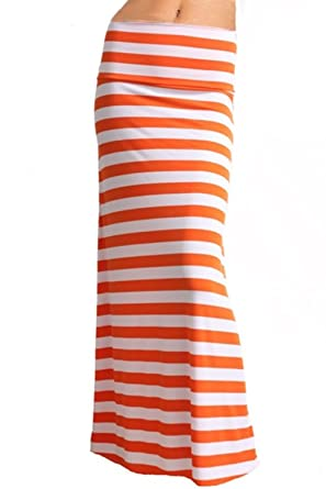 Azules Women's Striped Banded Maxi Skirt at Amazon Women's ...