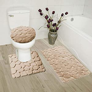 Luxury Home Collection 3 Piece Stone Embossed Solid Color Memory Foam Soft Bathroom Rug Set Non-Slip with Rubber Backing (Taupe)