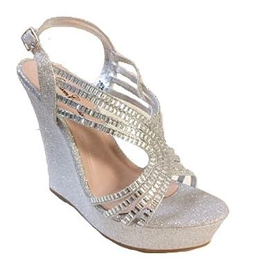 a55ab262d045 Blossom Nemo-76 - Silver 5.5 Wedge Glitter Strappy Heels Pumps Platform  Bridal Prom