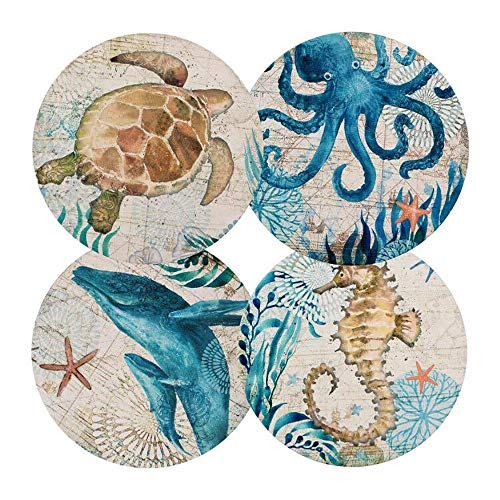 Ceramic Coaster Set of 4,Absorbent Stone Coasters for Cold Drinks Coffee Mug Glass Cup Place Mats (Ocean Life)