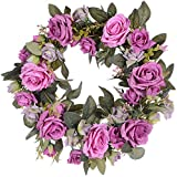 Lvydec Artificial Rose Flower Wreath - Door Wreath 13 Inch Fake Rose Spring Wreath Nearly Natural Round Wreath for Front Door, Wall, Wedding, Home Décor (Light Purple)