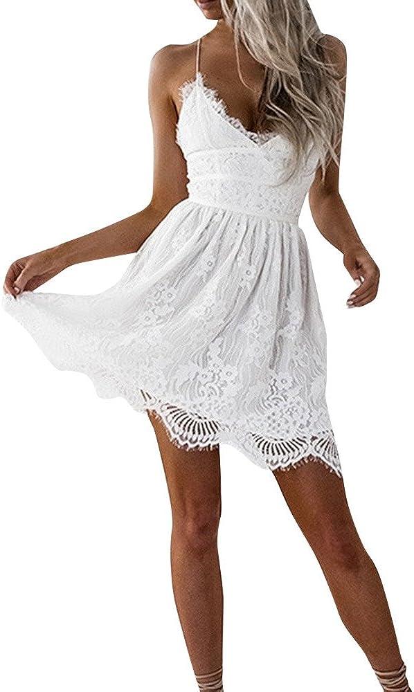 ZHENBAO Women Summer V-Neck Spaghetti Straps Lace Backless Party Club Beach Mini Dresses