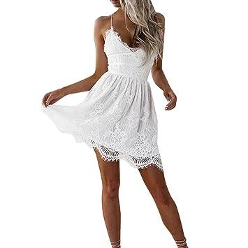 46a84c4914 Dragon868 Primavera Verano Mujeres Encaje Bodycon cóctel Vestidos Midi( Blanco