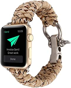 for iWatch 40/44/38/42mm Survival Band, Nylon Rope Wrist Strap with Rugged Outdoor Survival Stainless Steel Shackle and 550 Paracord for Apple Watch Series 4 3 2 1(Camouflage Khaki 42/44mm)
