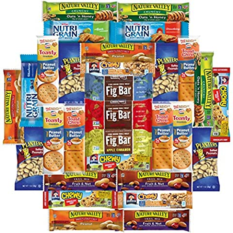 Healthy Bars, Crackers & Nuts Care Package Bulk Sampler Variety Pack Includes Nature Valley, Nutri Grain, Quaker Chewy, Fig Bars, Planters Peanuts & More (30 - Mens Sprint Walker