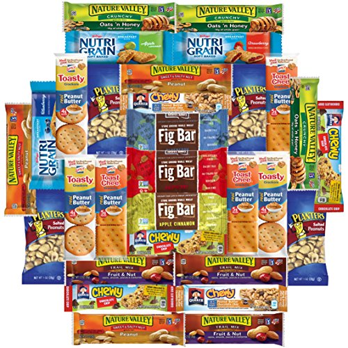 Healthy Bars, Crackers & Nuts Care Package Bulk Sampler Variety Pack Includes Nature Valley, Nutri Grain, Quaker Chewy, Fig Bars, Planters Peanuts & More (30 (Collage Package)
