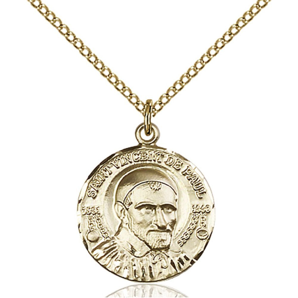 Gold Filled St. Vincent de Paul Pendant 3/4 x 5/8 inches with Gold Filled Lite Curb Chain by Bonyak Jewelry Saint Medal Collection