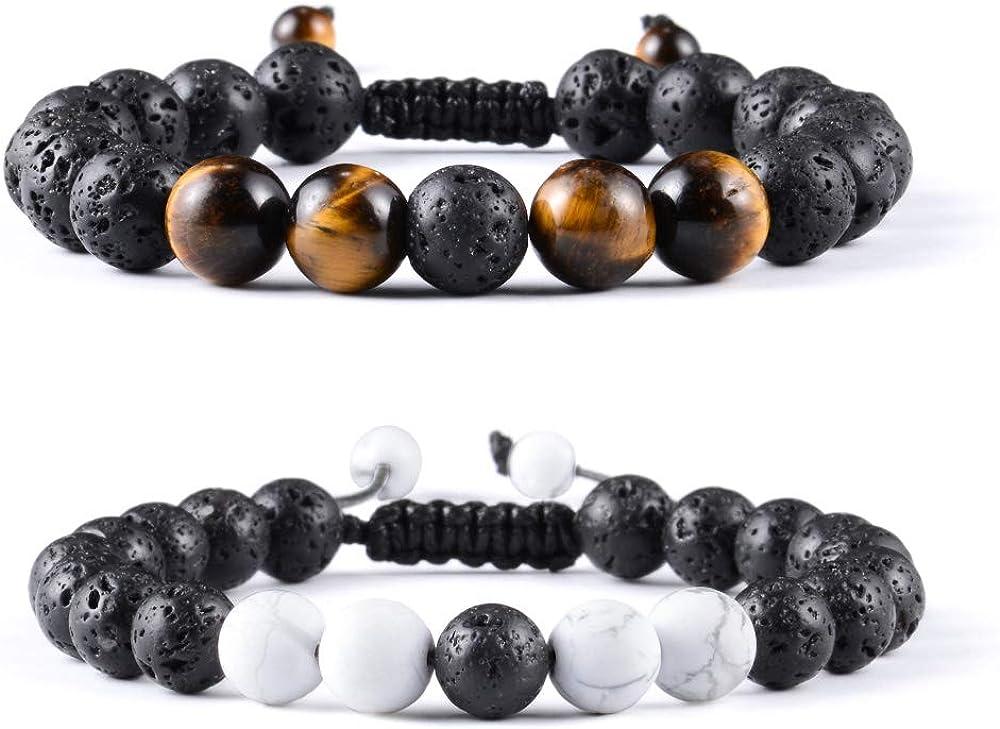 VU100 2PCS Brazalete para Hombres Mujer Shamballa, Pulsera de Perlas Trenzadas con Piedras Naturales de ónix, Tigre o Lava en Negro