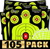 ''105-PACK'' SHOOTING TARGETS, High-Contrasting Yellow & Red Colors Make it Easy to See Your Shots Land, Heavy-Duty Silhouette Paper Sheets - 150 Free Repair Stickers, Close To Wholesale Prices.