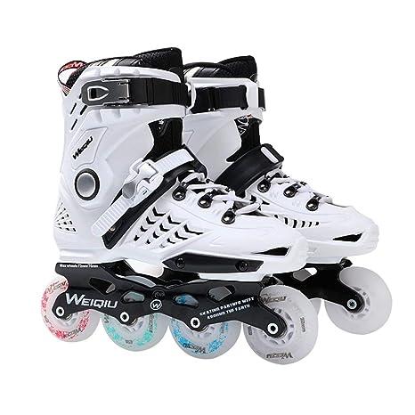 1 par de 8 Patines de Ruedas completos LED Flash Skate Fancy Straight Roller Zapatos Profesionales