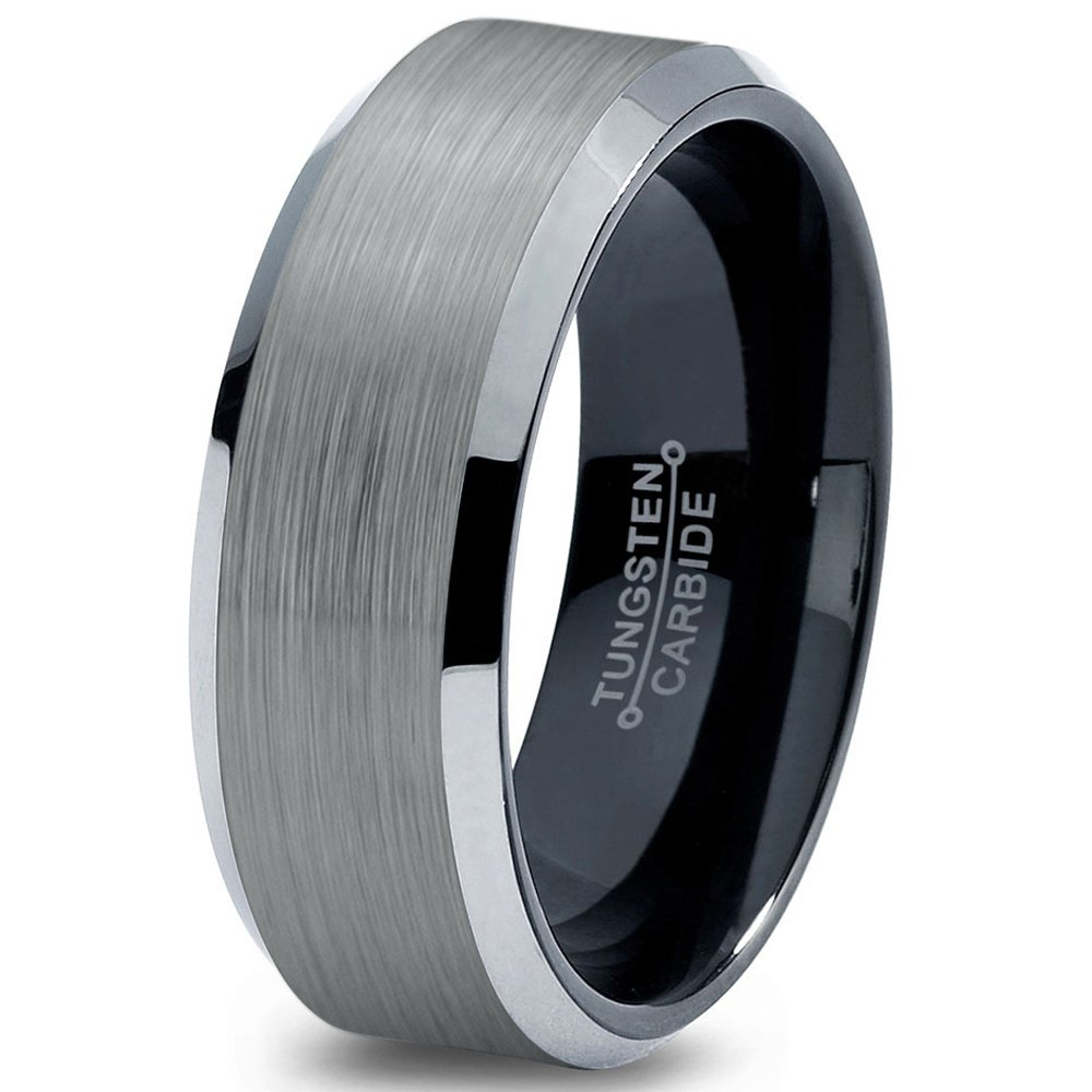 Tungsten Wedding Band Ring 8mm 6mm for Men Women Comfort Fit Silver Brushed Silver Bevel Edge FREE Custom Laser Engraving Lifetime Guarantee
