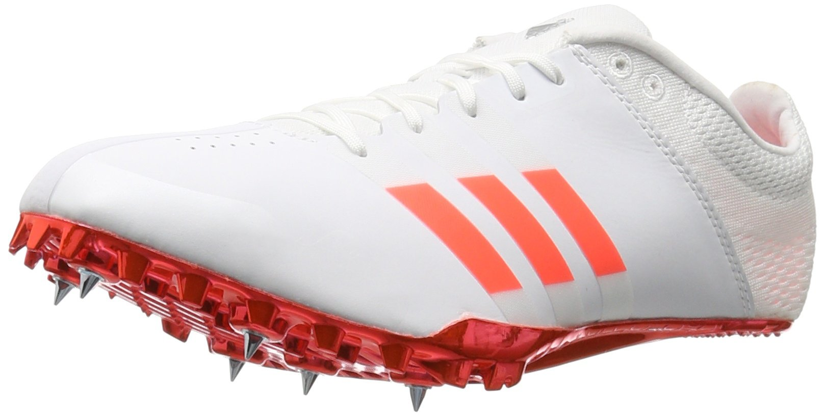 adidas Adizero Finesse Track Shoe, White/Solar Red/Tech Silver Metallic, 9.5 M US