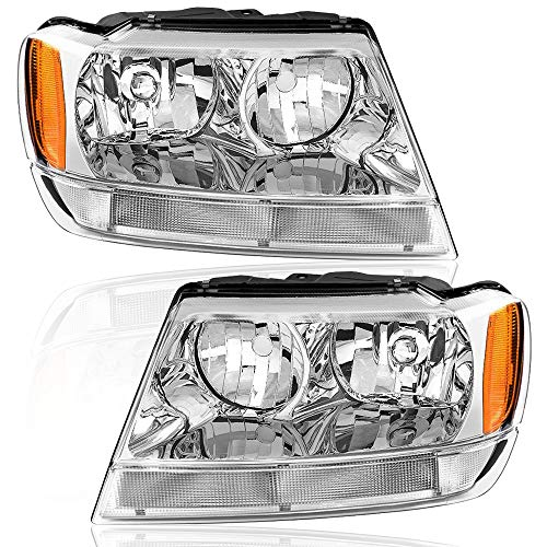 BRYGHT Headlight Assembly Compatible with 1999 2000 2001 2002 2003 2004 Jeep Grand Cherokee Chrome Housing Headlamp Pair with Amber Reflector Direct Replacement Passenger and Driver Side (chrome)