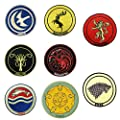 Game of Thrones House Crests Eight Set (Arryn, Baratheon, Greyjoy, Lannister, Stark, Targaryen, Tully, Tyrell) Embroidered Iron On or Sew On Patches