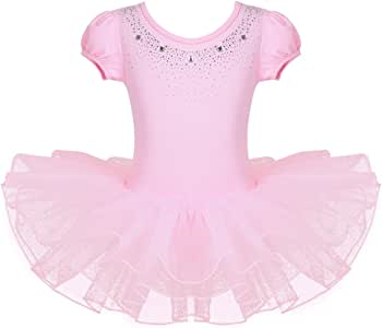 FEESHOW Kids Girls Short Sleeve Sparkle Rhinestone Dance Costumes Ballet Leotard Tutu Dress
