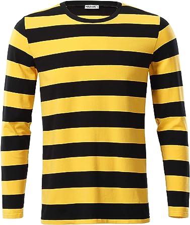 MSBASIC Camisa a Rayas de algodón de Manga Larga Casual para Hombre MD8008-2 X-Large: Amazon.es: Ropa y accesorios
