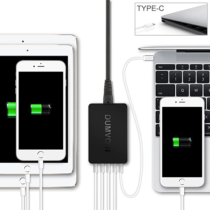 Quick Charge 2.0 & USB Type-C cargador ,Dumvoin Multi Puerto USB Charger Cargador rápido Cargador Adaptador de carga Wall Charging Station con Qualcomm 2.0 ...