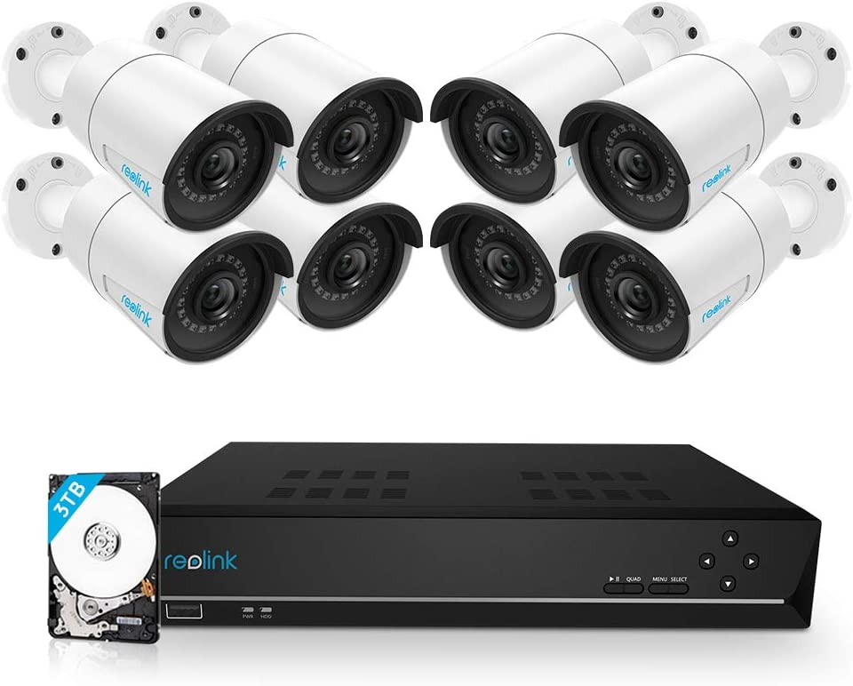 Reolink 16CH 5MP PoE Home Security Camera System, 8 x Wired 5MP Outdoor PoE IP Cameras, 5MP 16 Channel NVR Security System w/ 3TB HDD for 7/24 Recording Super HD RLK16-410B8-5MP