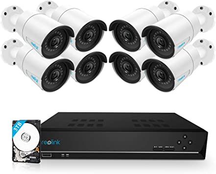 RLK8-520D4-A 8MP 8-Channel NVR with 2TB HDD for 24//7 Recording 4pcs 5MP Person//Vehicle Detection Smart Wired Outdoor PoE IP Cameras Reolink 5MP Security Camera System
