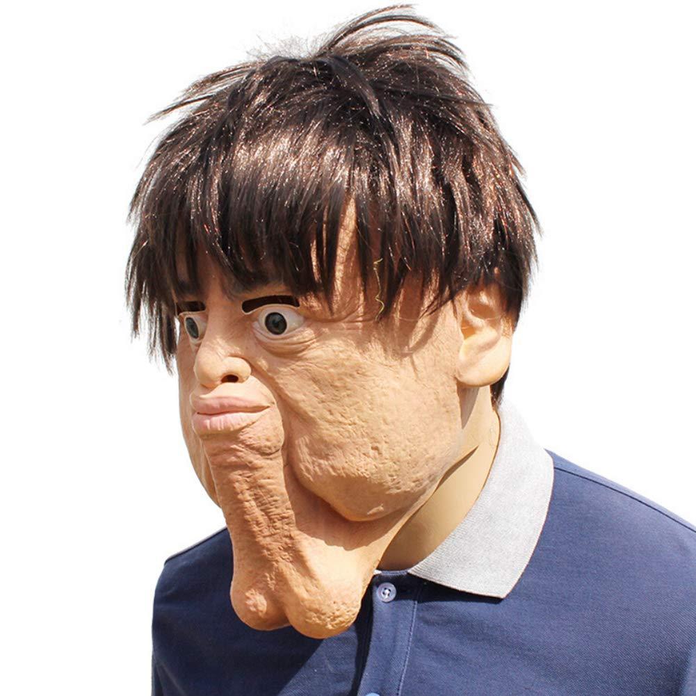Mascara de Latex de Cabeza Llena Loca Divertida de Halloween Mascarilla Facial Completa con Doble Menton