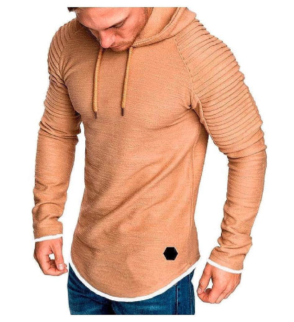 Tralounry Mens Long-Sleeve Hooded Slim Raglan Casual Pullover T-Shirt Top