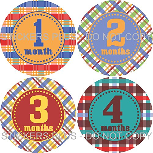 Baby Boy Month Stickers Monthly Baby Milestone Stickers Colorful Madras Plaid Blue Green Yellow Red Orange Baby Age (Yellow Madras)