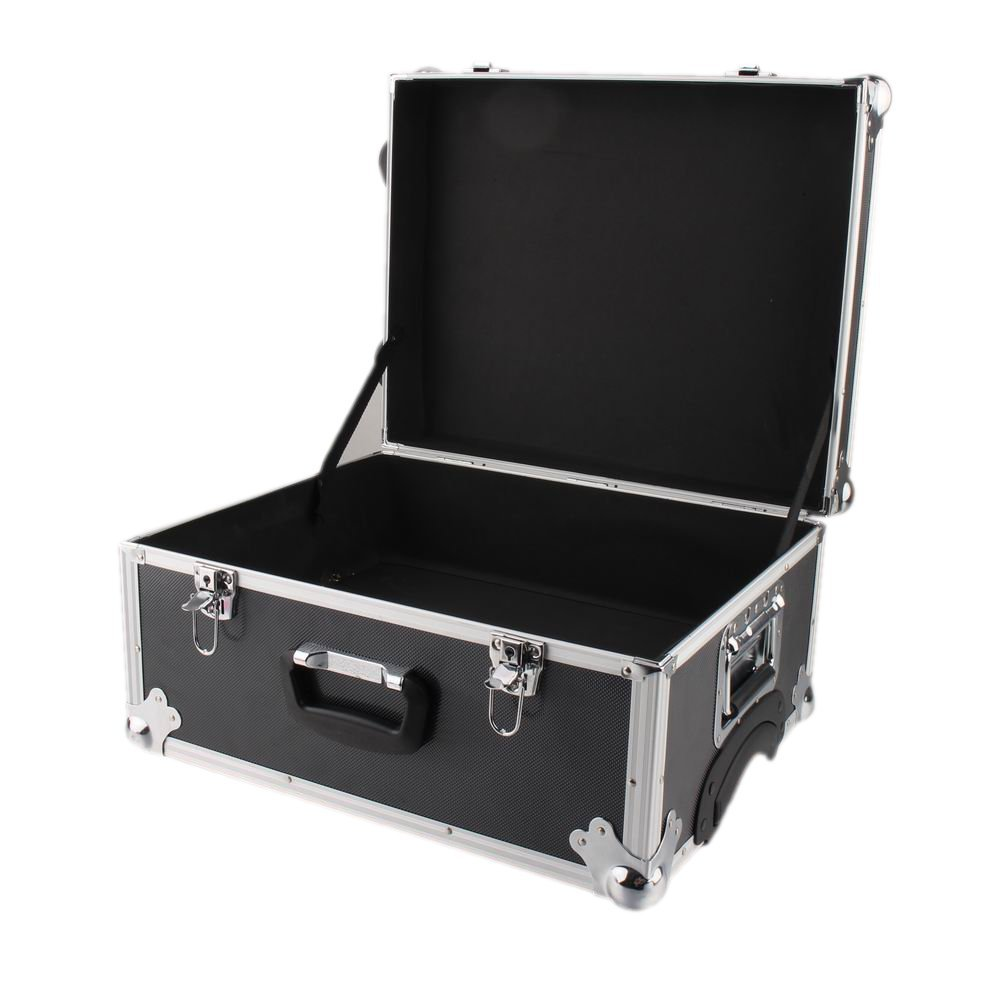 Trolley Mobile Box Storage Case aluminum corner protection IQE-Storage Transport Box TB-2R on wheels and with pull-out handle Hard Cover black WxDxH: 50 x 40 x 26 cm