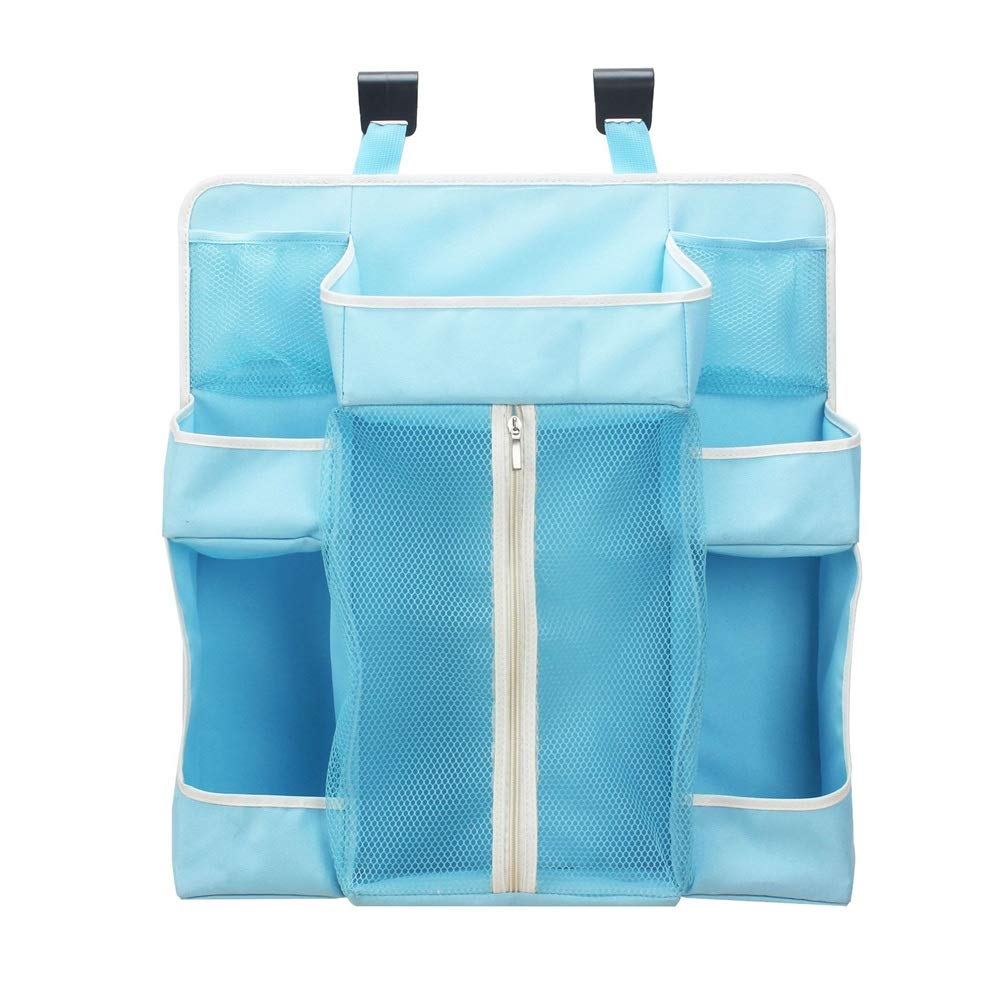 Gralet-home Bed Hanging Organizer Nursery Baby Hanging Diaper Organizer Caddy Stacker for Changing Table, Crib, Playard Diaper Organizer for Baby Cot Bunk Bed (Color : Blue, Size : 48X20X52CM) by Gralet-home