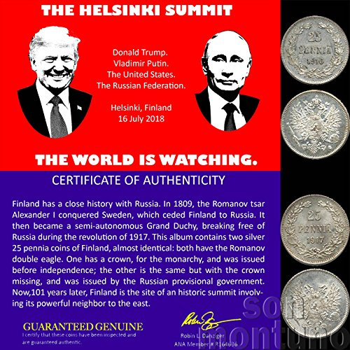 THE HELSINKI SUMMIT - The World is Watching the United States & Russia - 2 Coin Set Featuring 1916/1917 Silver Coins TRUMP PUTIN -