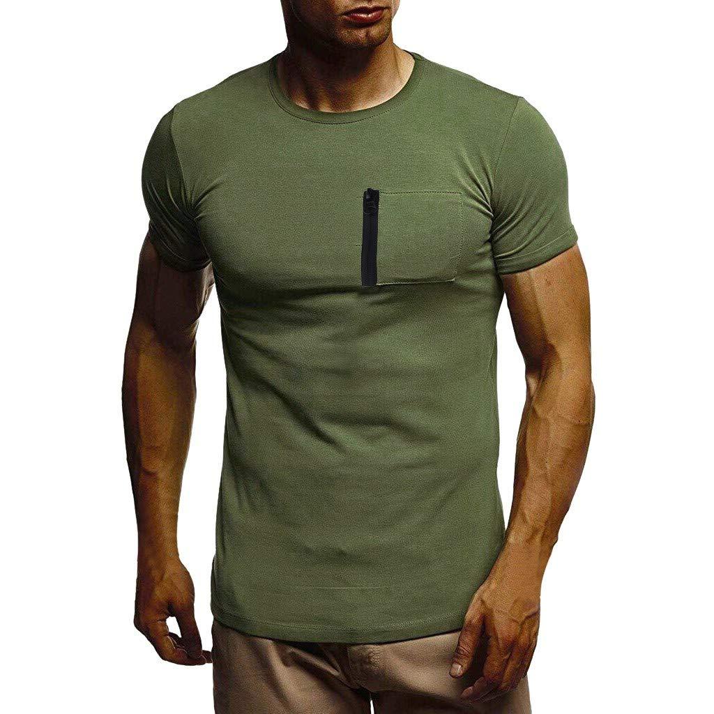 Winsummer Tee Men's Pocket Crew-Neck T-Shirt Short-Sleeve Pure Color Lightweight Work Wear Tshirt Tops Green