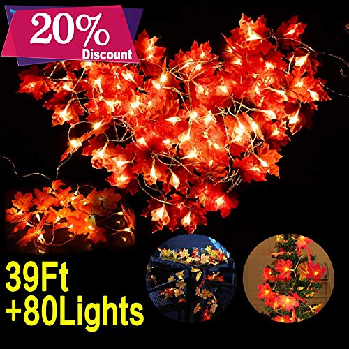 Woqoo 4 Pack Fall Maple Leaves Garland LED