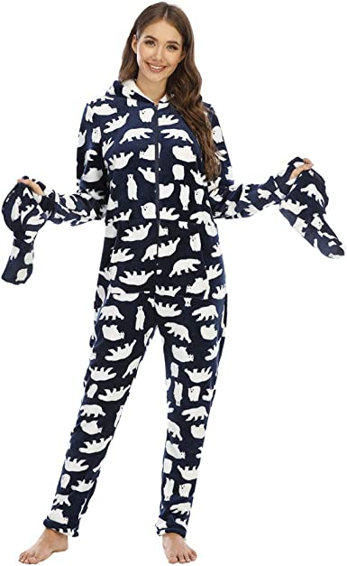 YuanDiann Mujer Pijamas Enteros con Pies, Impresión de Camuflaje Suave Cálido Franela Manga Larga Onesie Linda Una Pieza Cómodo Dormir Mono con ...