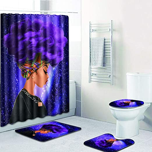 1 Shower Curtain /& 3 Toilet Mat and Lid Cover African Woman Purple Hair EVERMARKET Creative Colorful Printing Toilet Pad Cover Bath Mat Shower Curtain Set for Bathroom Decor,4 Pcs Set
