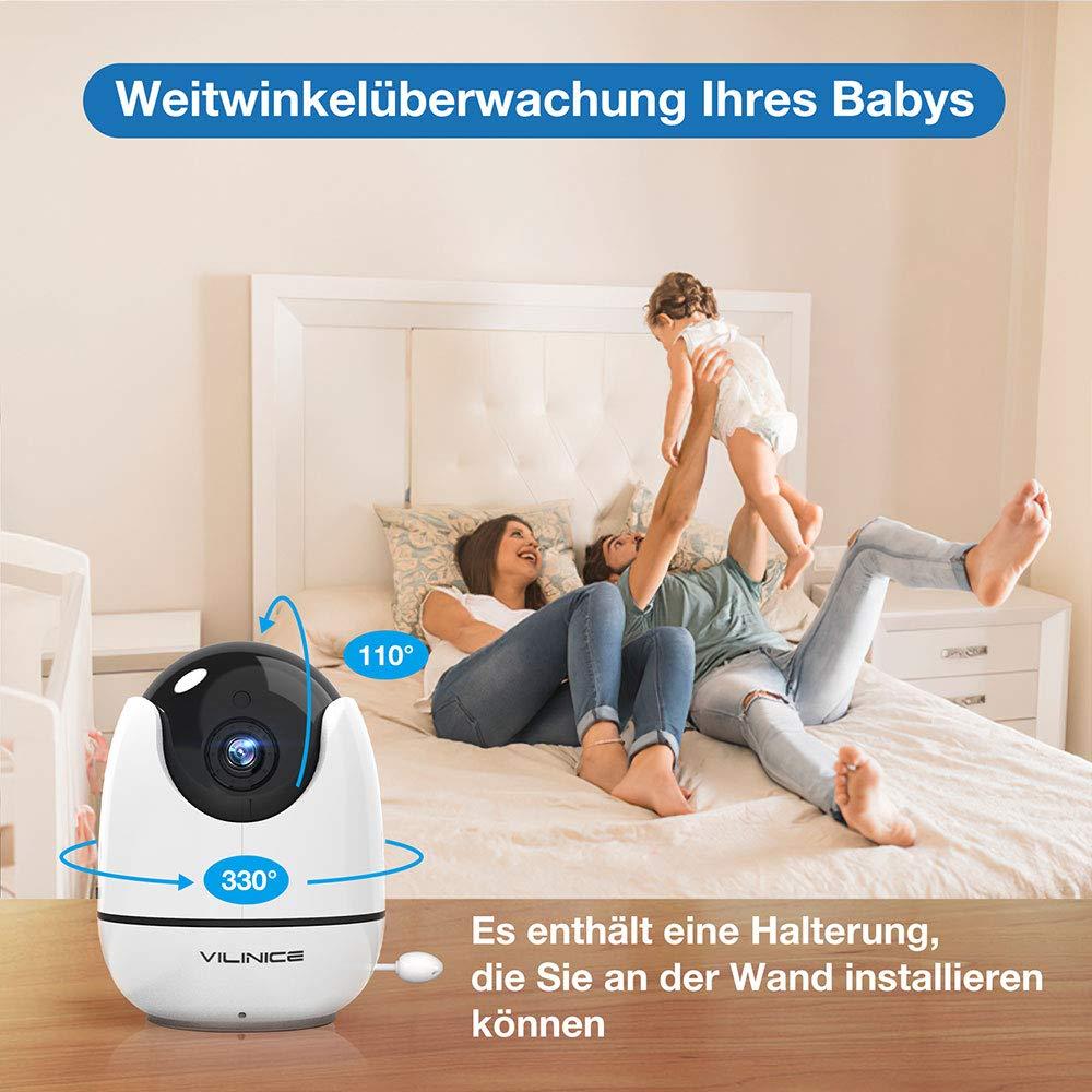 VOX 300M Reichweite 5,5 Zoll Babyphone mit Kamera Gegensprechfunktion Nachtsicht VILINICE 720P HD Video Baby Monitor Wireless Schlaflieder,5000 mAh Wiederaufladbar AKKU Temperatur /Überwachung