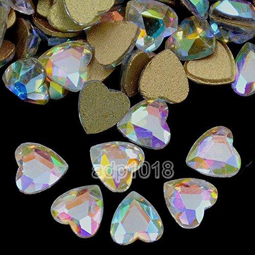 AD Beads Top Czech AB Crystal Multi-Shape Flatback Rhinestone Nail Art Decoration DIY (50 Pcs, 13. Heart 8x8mm)