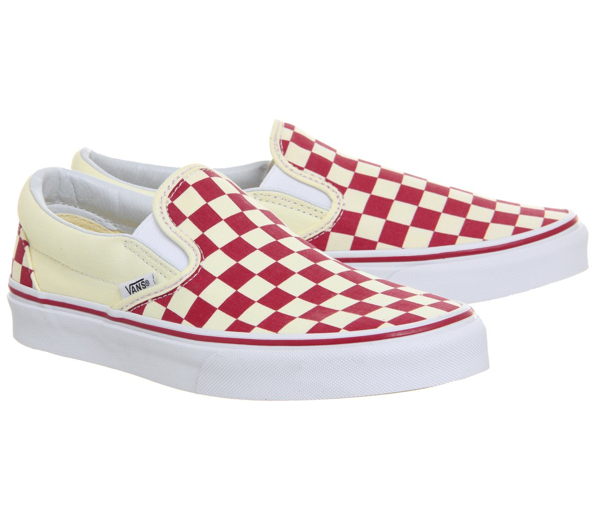 Vans Unisex Classic (Checkerboard) Slip-On Skate Shoe B07B4RTVYL 5 M US Women / 3.5 M US Men (Checker) Racing Red / White