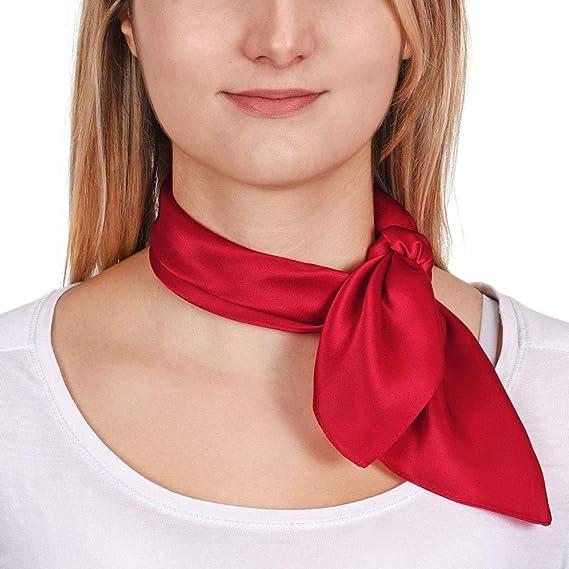 Allée du foulard Carré de soie Piccolo ROUGE uni - 50x50 cm  Amazon ... 57609b19333