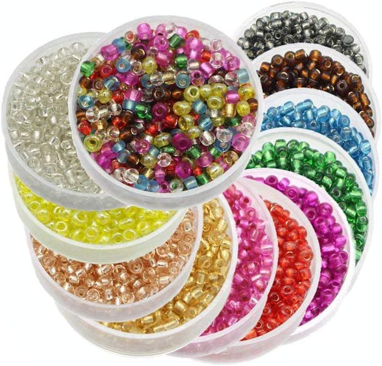 Approx 7200pcs 2mm Glass Seed Bugle Tube Beads Loose Bead Jewelry Findings (12colors/Pack 600pcs/bag) (Mixed Colors 1)