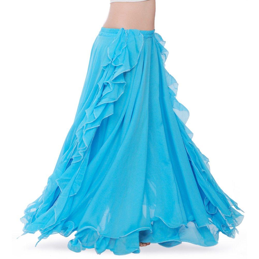 ROYAL SMEELA Women's Belly Dance Chiffon Skirt ATS Voile Maxi Full Dress Bellydance Skirts Lightblue One Size by ROYAL SMEELA