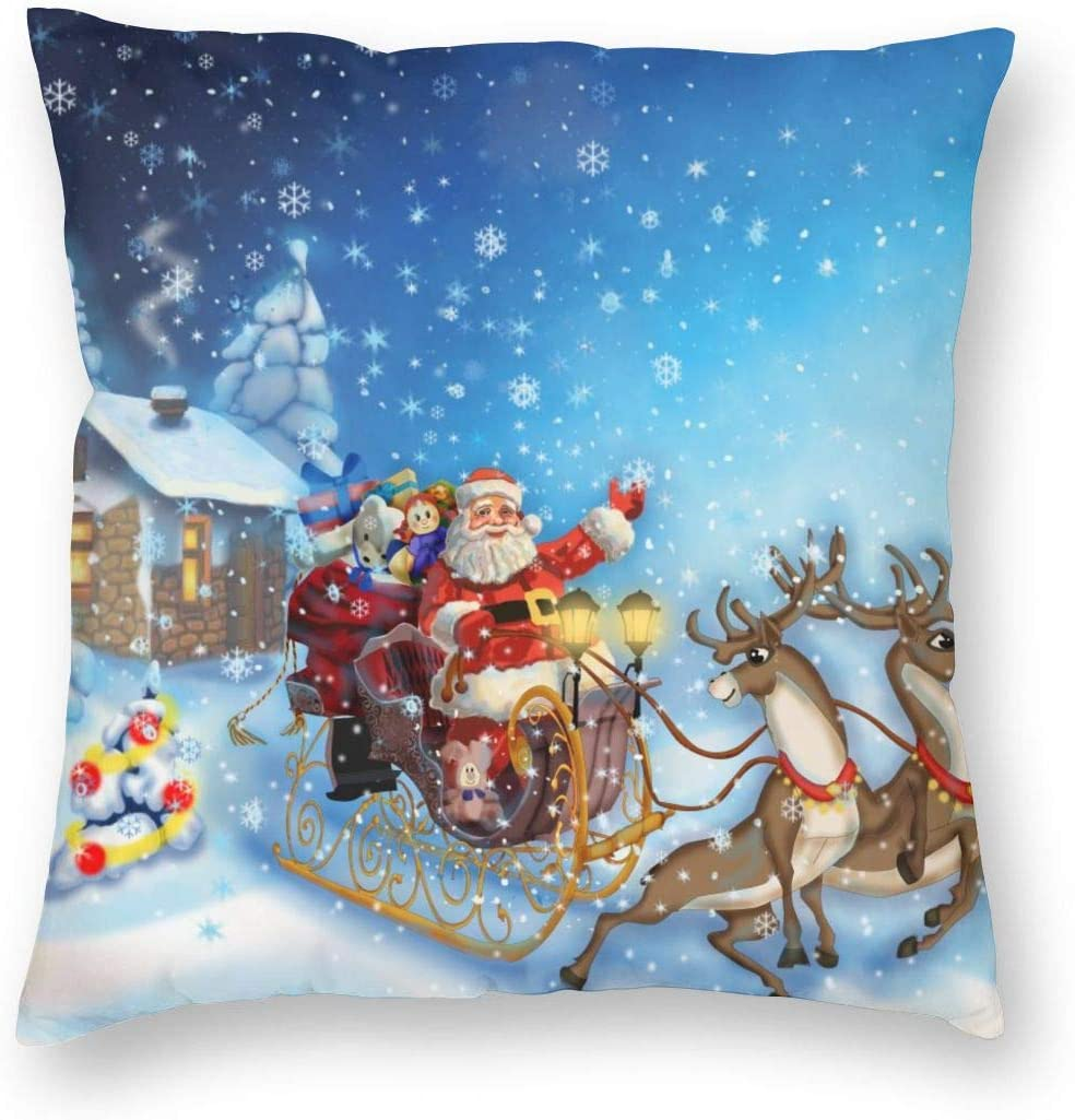Amazon Com Nibbuns Christmas Cute Throw Pillow Cushion Cover Santa In Sleigh With Reindeer And Toys In Snowy North Pole Tale Fantasy Image Decorative Square Accent Pillow Case White 18x18 Inch Home Kitchen