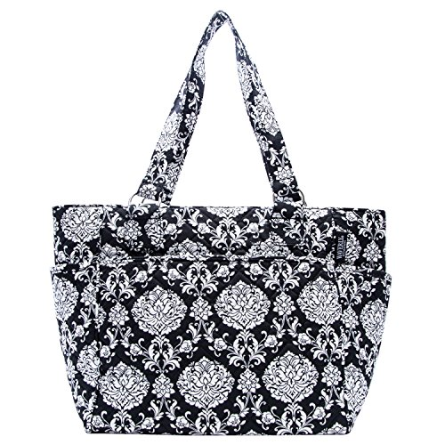 Waverly Large Tote (Quilted Black/White Damask) (Bag Laptop Quilted Black)