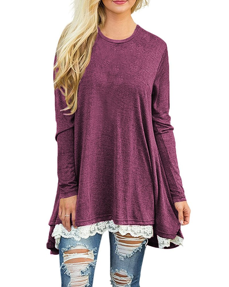 ULATREE Women Tunic Tops for Leggings Casual Lace Hem Line Long Sleeve Round Neck Red XXL