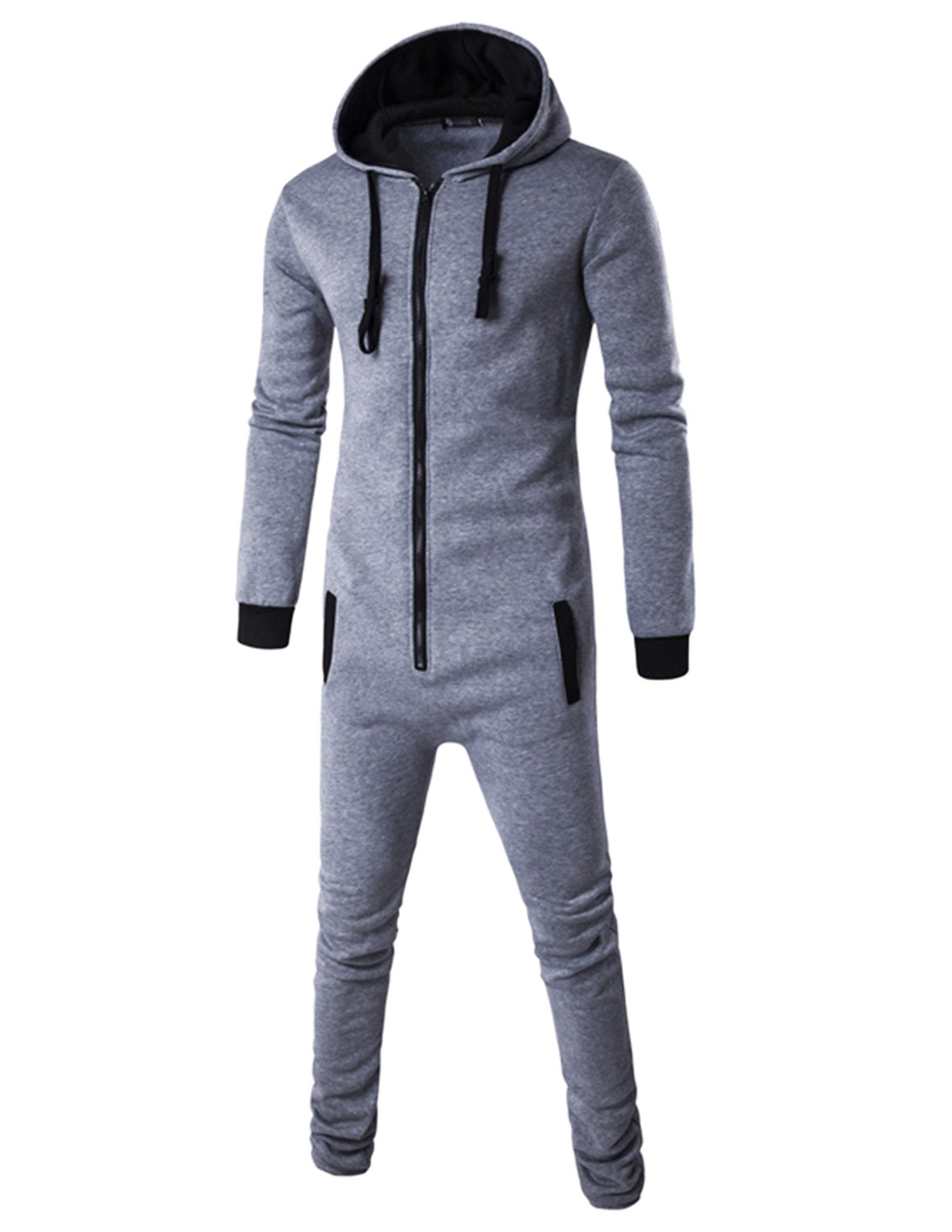 Haseil Men's Onesie Pajama Non Footed Zip Up Adult With Hoodie One Piece Jumpsuit, Light Grey, TagsizeXXL=UssizeM