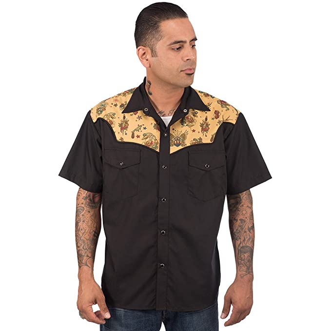 1950s Mens Shirts | Retro Bowling Shirts, Vintage Hawaiian Shirts Mens Steady Clothing Tattoo Flash Western Shirt Black $57.99 AT vintagedancer.com