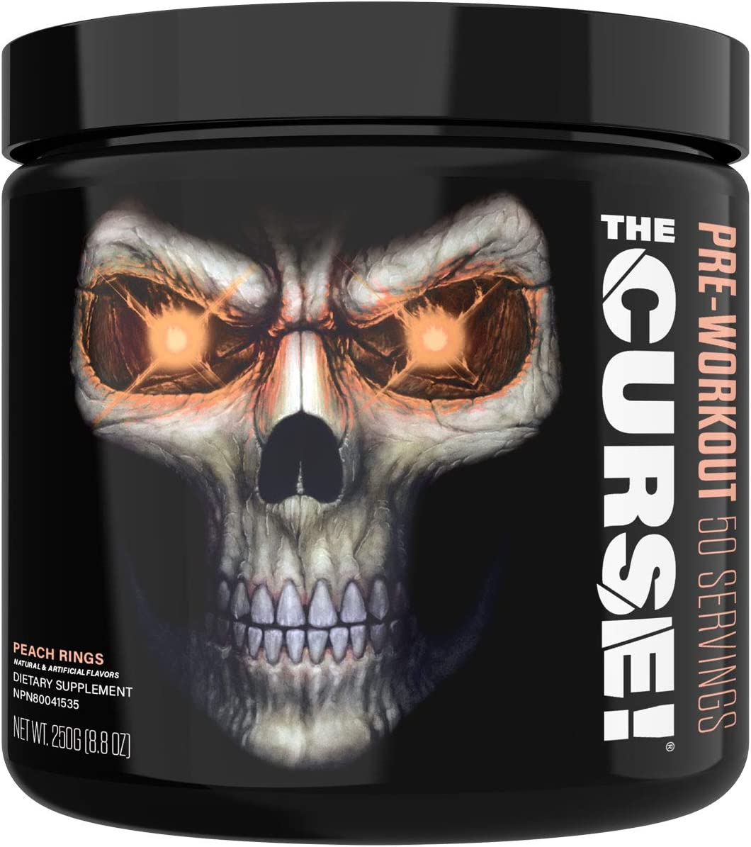 JNX Sports The Curse Pre Workout Supplement – Intense Energy Focus, Instant Strength Gains, Enhanced Blood Flow – Nitric Oxide Booster with Creatine Caffeine – Men Women Peach Rings 50 SRV