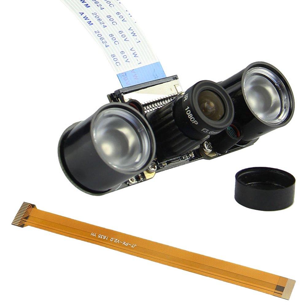 Amadget for Raspberry Pi Night Vision Camera Module, 5MP 1080P HD Video webcam for Raspberry Pi Model A/B/B+, Pi 2 and Raspberry Pi 3, Pi Zero/Zero W + 2 Infrared IR LED Light