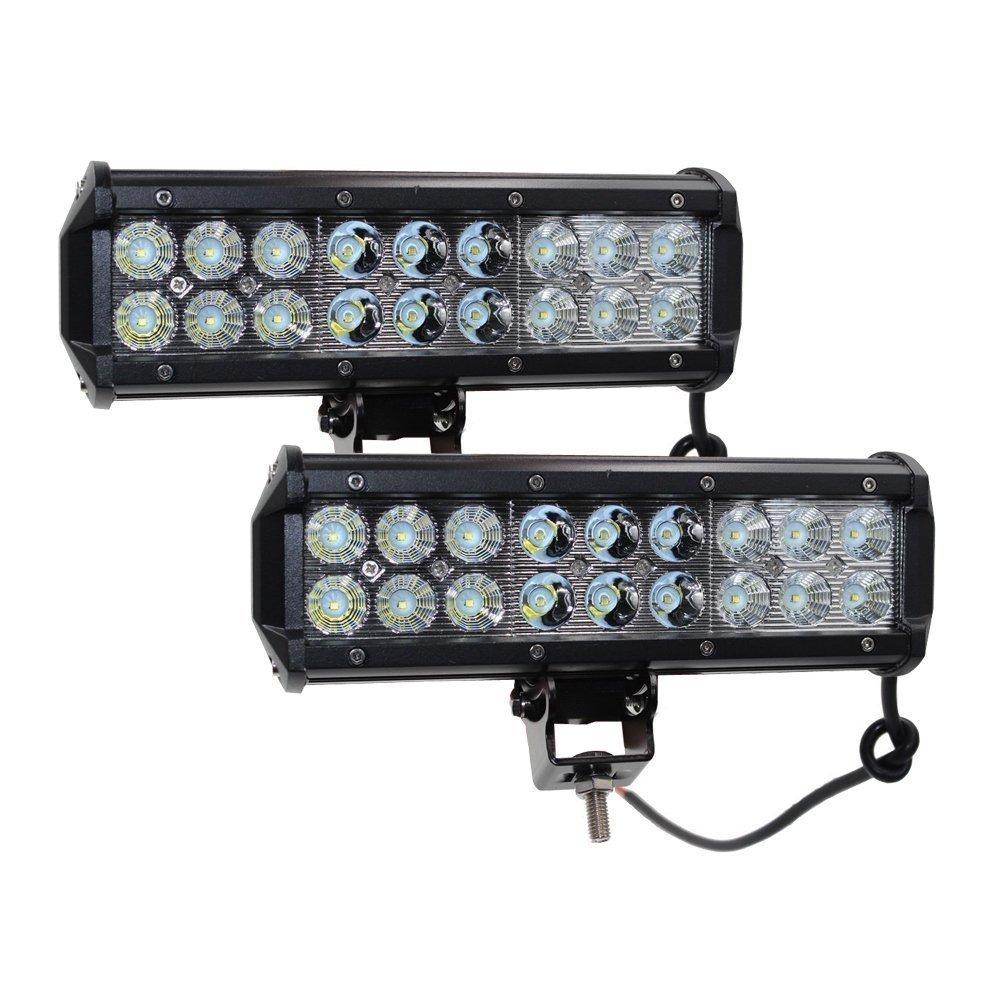 2x 9In 54W off road lampe Barre Phare de Travail LED flood spot LED light bar Antibrouillard LED Feux Diurne lumiè re é clairage de moto rampe de toit feu de recul Camion 4x4 Tracteur Bateau 12V-24V UNI FILTER